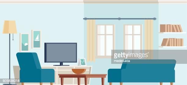 ilustrações, clipart, desenhos animados e ícones de sala de estar, sofá, poltrona, televisão, descanso, janela, lâmpada - mesa mobília