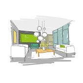Living room design interior sketch. Hand drawn vector illustration