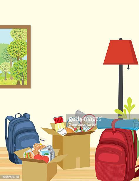 Living room filled with items packed for vacation