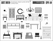 Living room furniture set. Art Deco collection. Modern design interior elements: sofa, bed, sconce, accessories, lamps, chandelier, floor lamp, armchair,  table, chest, cupboard, fireplace. Vector