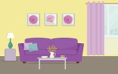 Living room in a yellow and purple colors