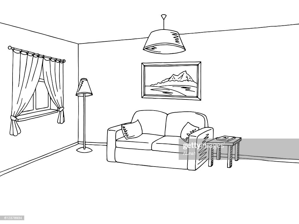 Living room interior black white sketch illustration vector