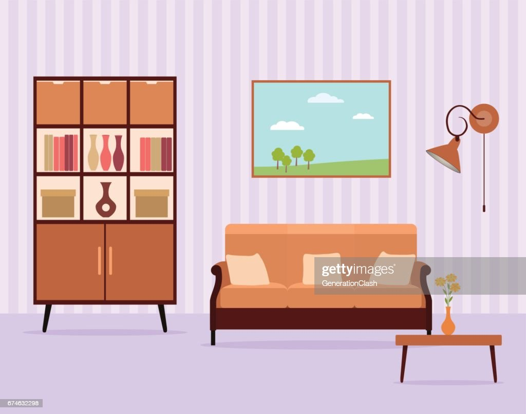 Living room interior design in flat style including furniture, cabinet, sofa, table, lamp and landscape picture.
