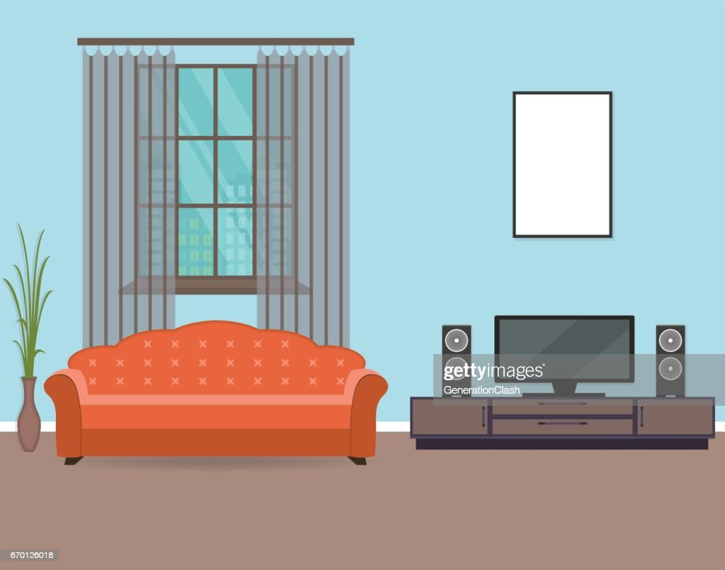 Living room interior design in flat style including furniture, tv, sofa, houseplant and mockup empty frame.