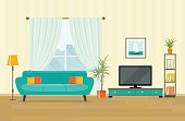 Living room interior design with furniture. Flat style vector illustration