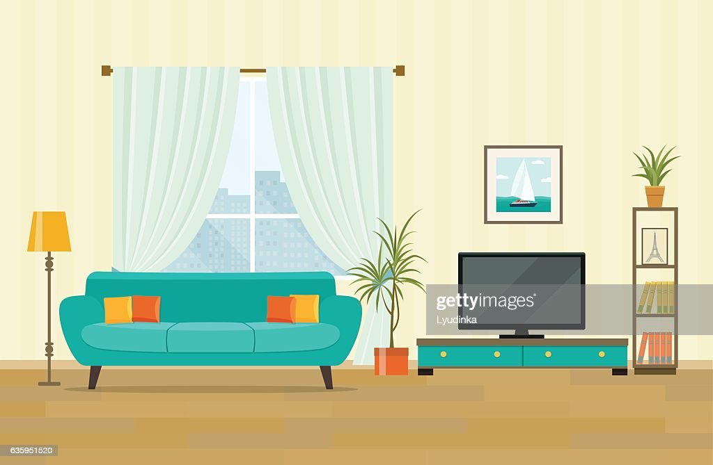 Modern Looking Workspace Desk; Living Room Interior Design With Furniture.  Flat Style Vector Illustration ...