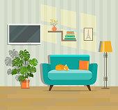 Living room interior. Flat vector illustration