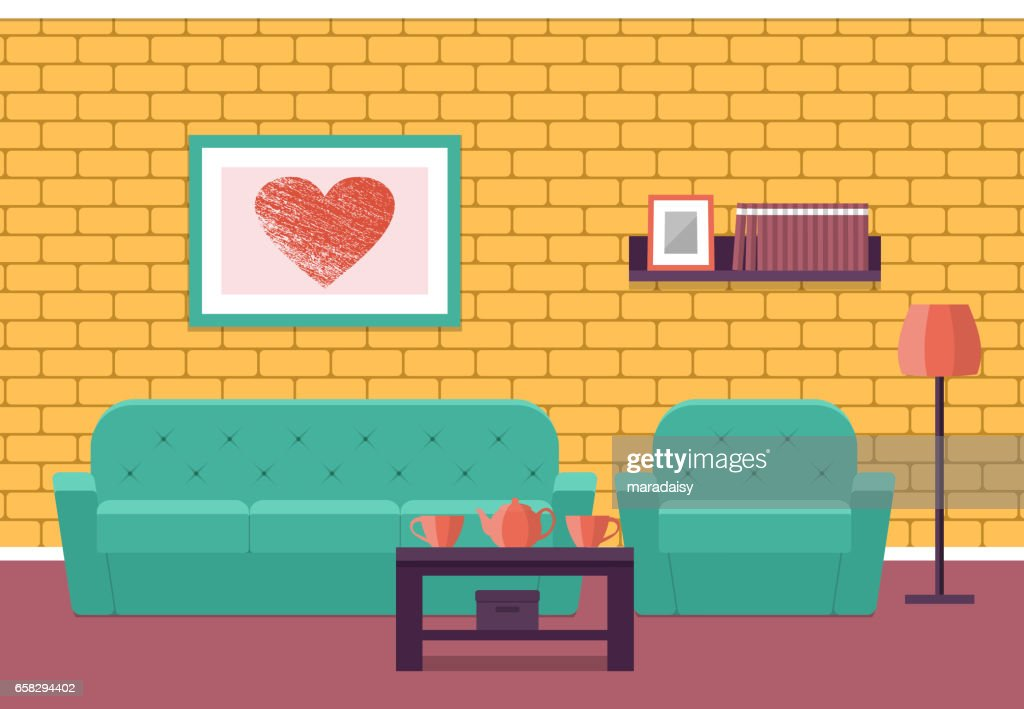 Living room interior in flat style. Vector graphic.