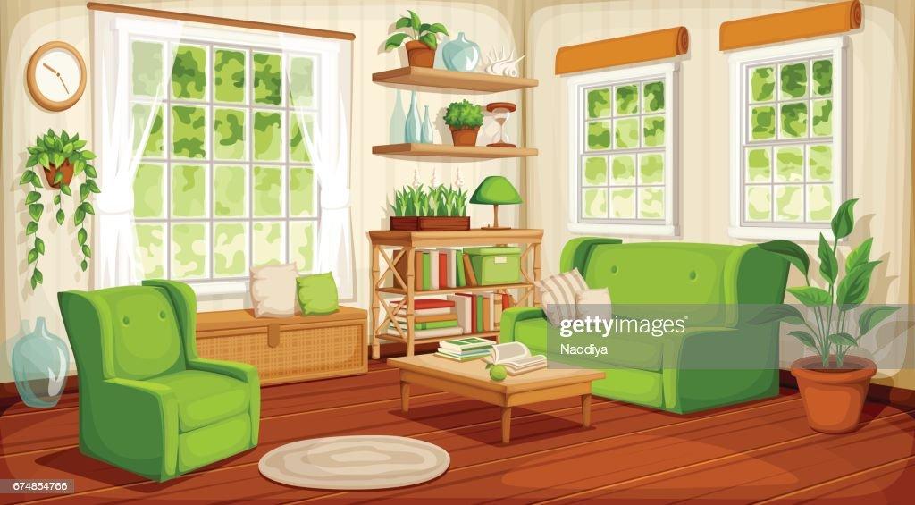 Living room interior. Vector illustration.