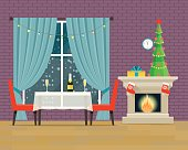 Living room interior with fireplace and table and chairs.Vector flat illustration