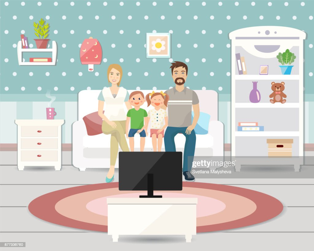 Wohnzimmer Einrichtung Mit Möbeln Familie In Der Kutsche Vor Dem ...