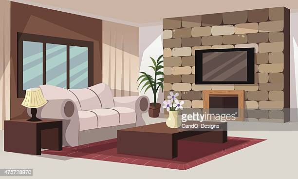 living room - house interior stock illustrations, clip art, cartoons, & icons