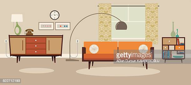 living room - domestic room stock illustrations, clip art, cartoons, & icons
