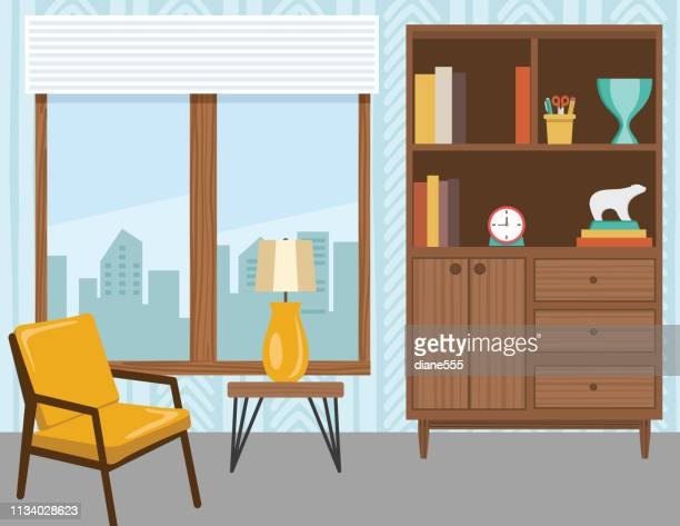 living room with furniture and accessories - chair stock illustrations