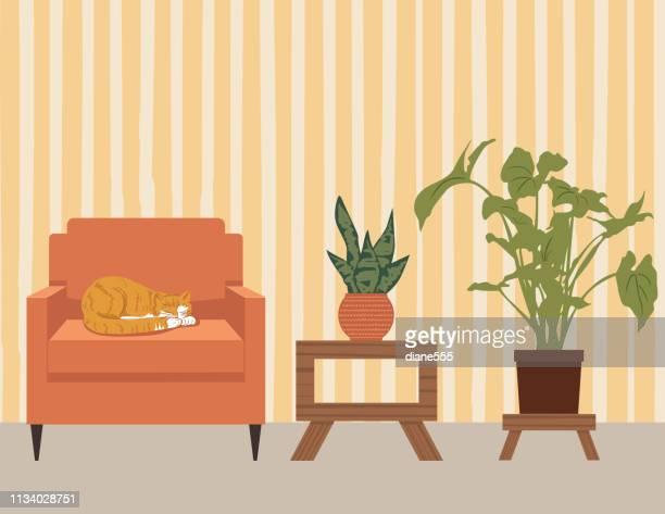 illustrations, cliparts, dessins animés et icônes de salon avec meubles et accessoires - plante verte