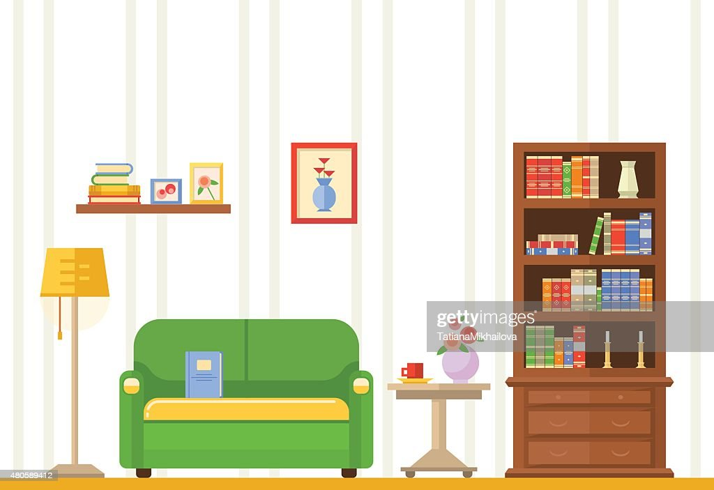 living room with furniture : Vector Art