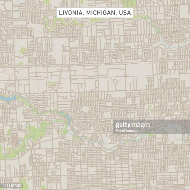 livonia michigan us city street map - detroit michigan map stock illustrations