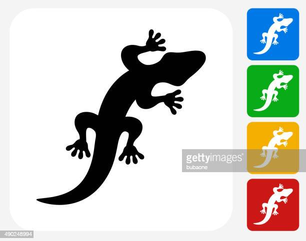 lizard icon flat graphic design - chameleon stock illustrations, clip art, cartoons, & icons