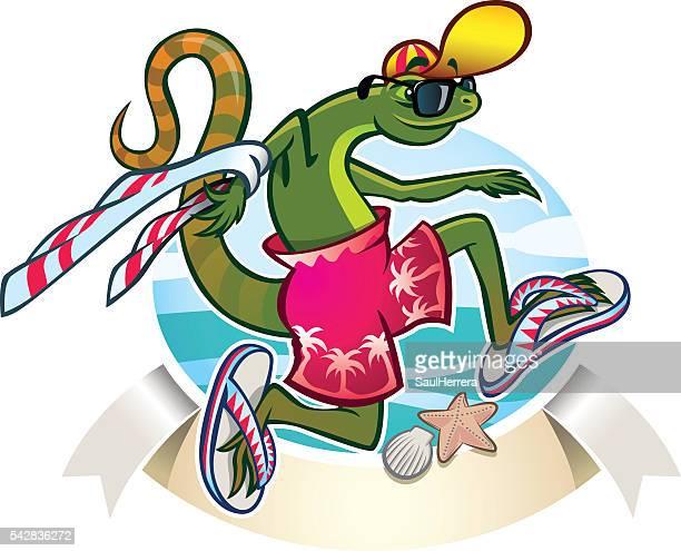 ilustraciones, imágenes clip art, dibujos animados e iconos de stock de lizard in the beach - salina estado natural de terreno