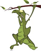 Lizard on a tree.Cartoon.