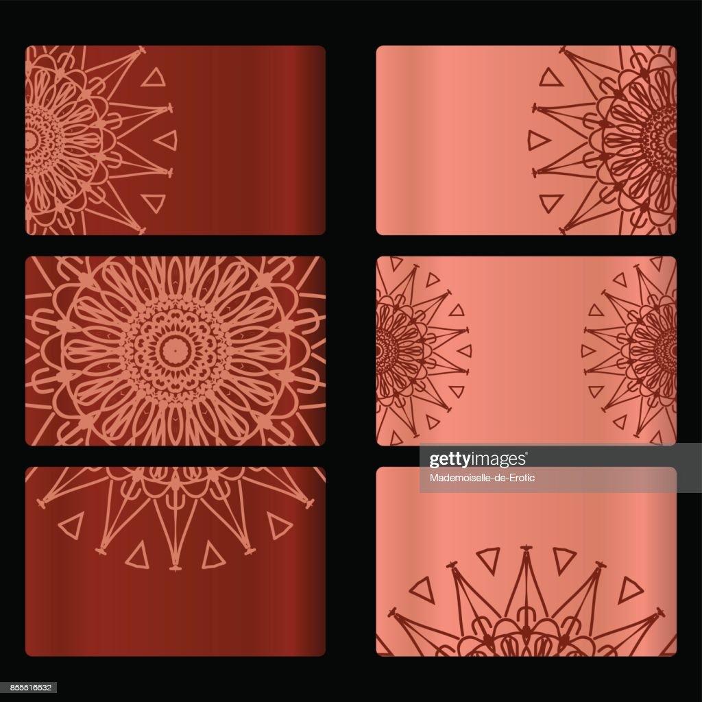 LL1386set De 6 Carte Visite Avec Un Design Mandala Floral Abstrait Motif Oriental