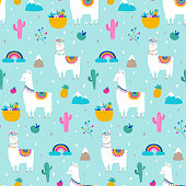 Llama, alpaca, cactuses and leaves seamless pattern