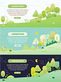 llustration graphic forest's day and night vector design