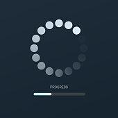 Load bar for mobile apps, web preloader on dark background. Radial load, update or download diagram icon of progress bar, minimal flat design