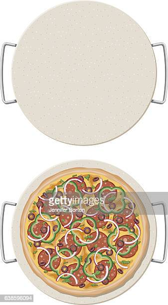 Loaded Pizza on a ceramic pizza stone, overhead view