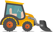 Loader excavator vector cartoon illustration