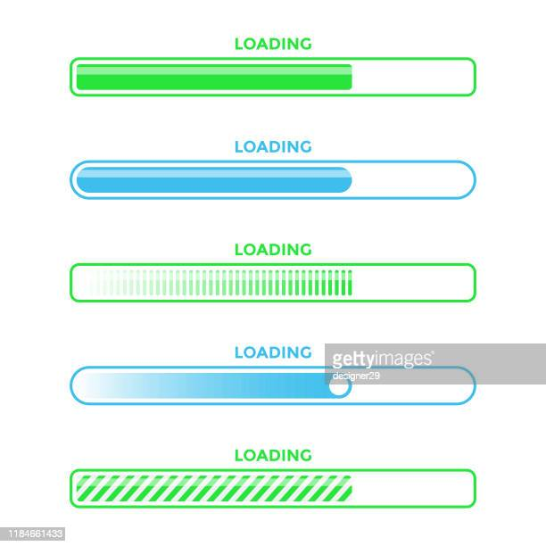 loading bar progress icon set vector design. - stream stock illustrations