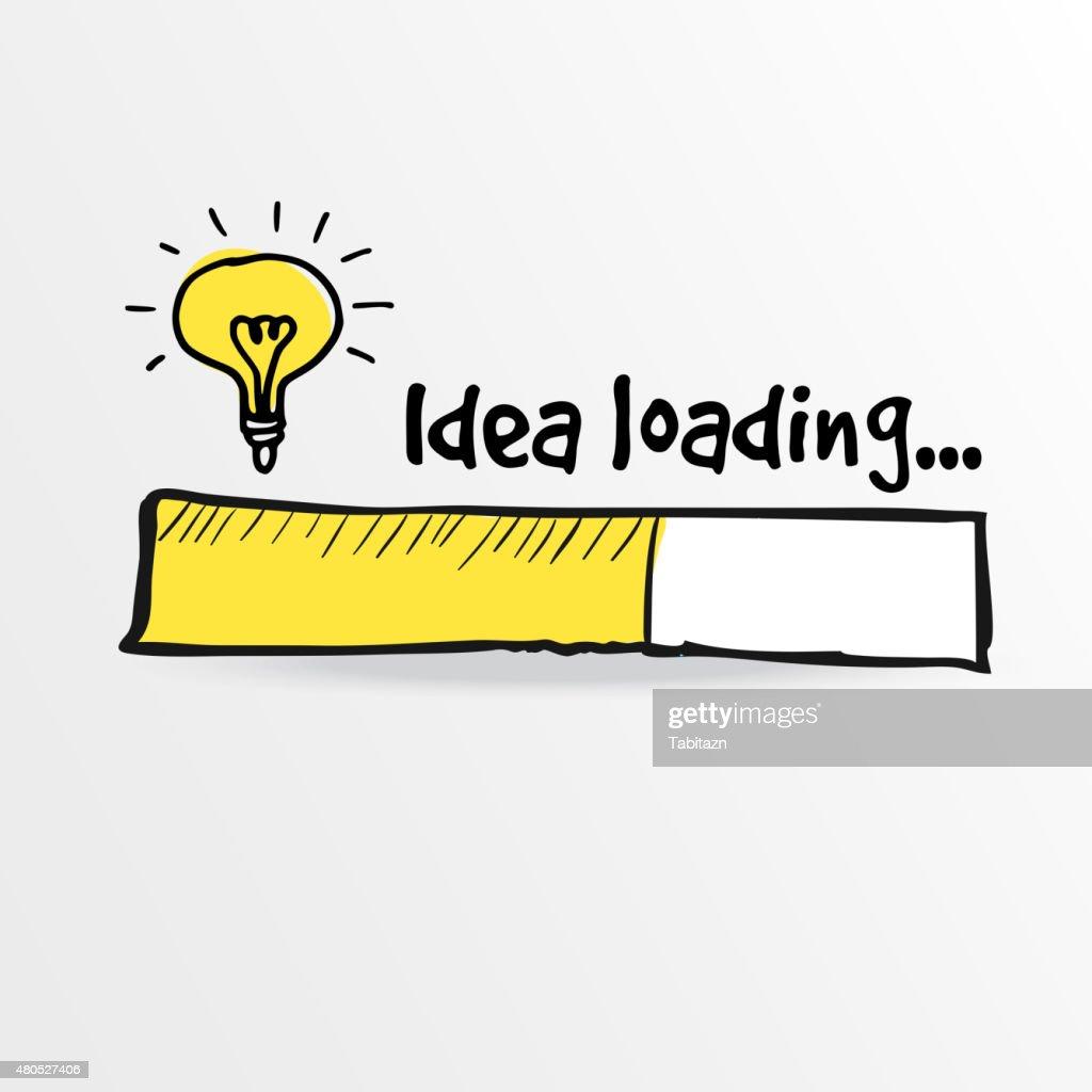 Ladevorgang bar mit Glühbirne, Kreativität, big idea, Vektor : Vektorgrafik