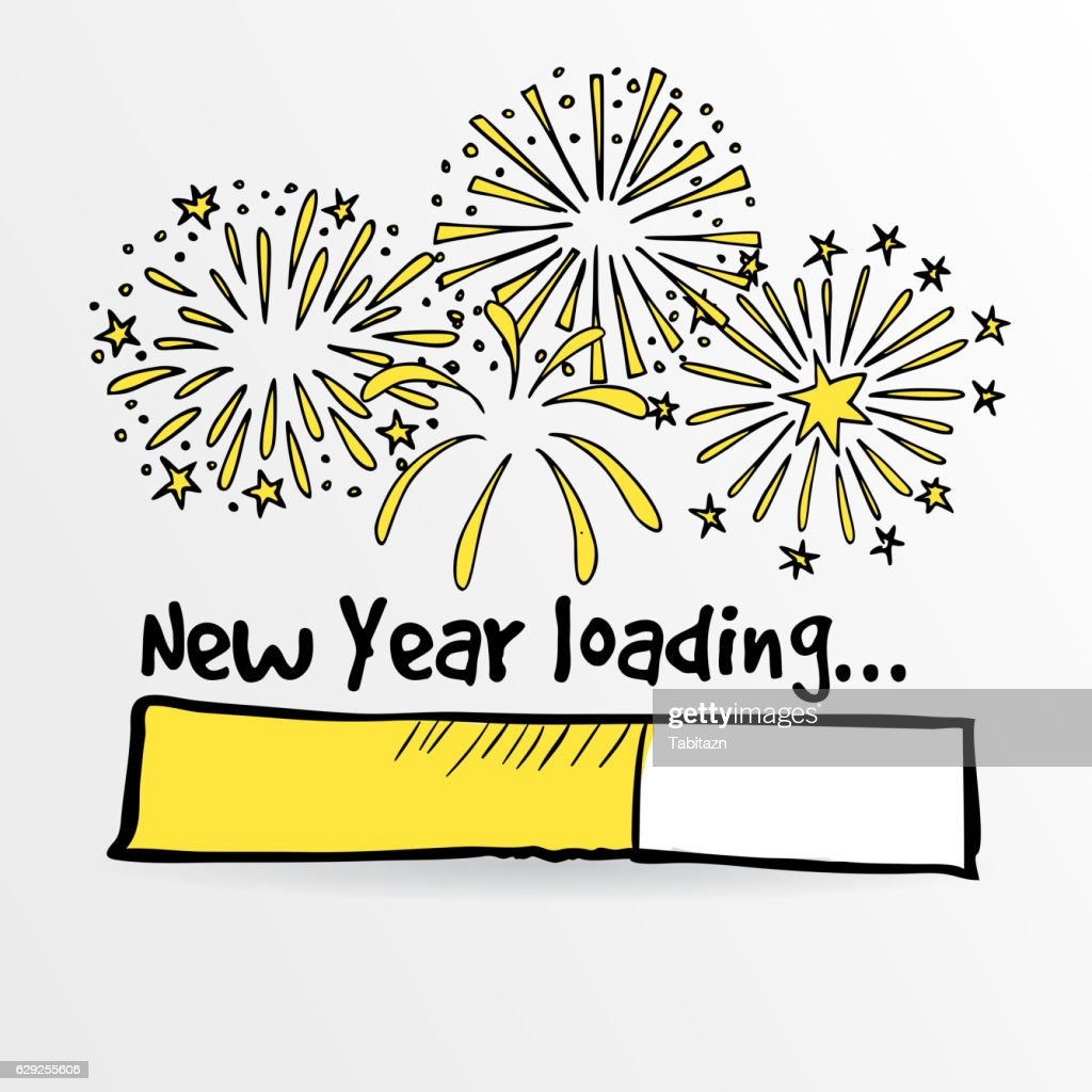 Loading bar with fireworks, new year, anniversary or party concept.