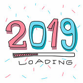 2019 loading cartoon vector illustration
