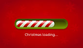 Loading Christmas. Red and green web bar on dark red background with snowflakes