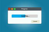 Loading data window with progress bar