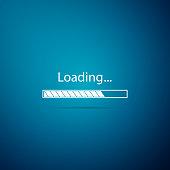 Loading icon isolated on blue background. Progress bar icon. Flat design. Vector Illustration