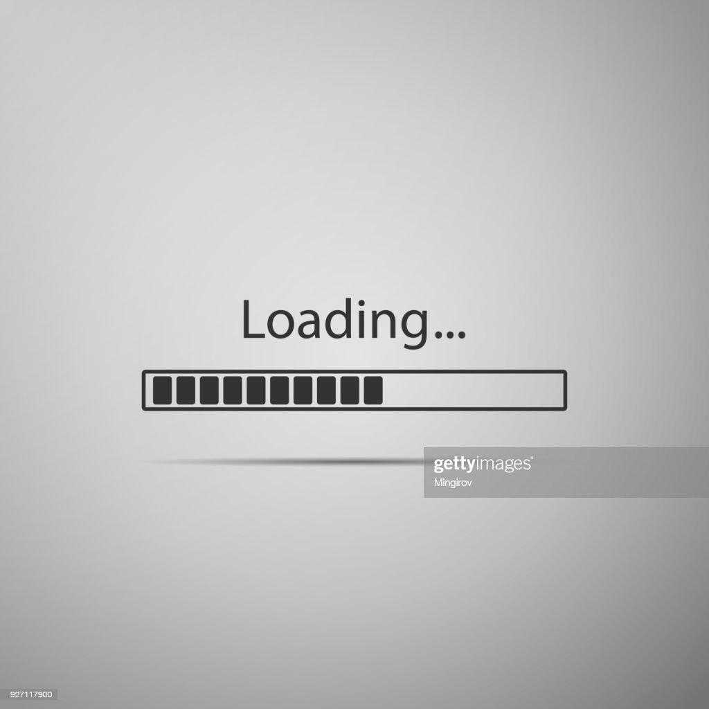 Loading icon isolated on grey background. Progress bar icon. Flat design. Vector Illustration