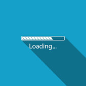 Loading icon isolated with long shadow. Progress bar icon. Flat design. Vector Illustration