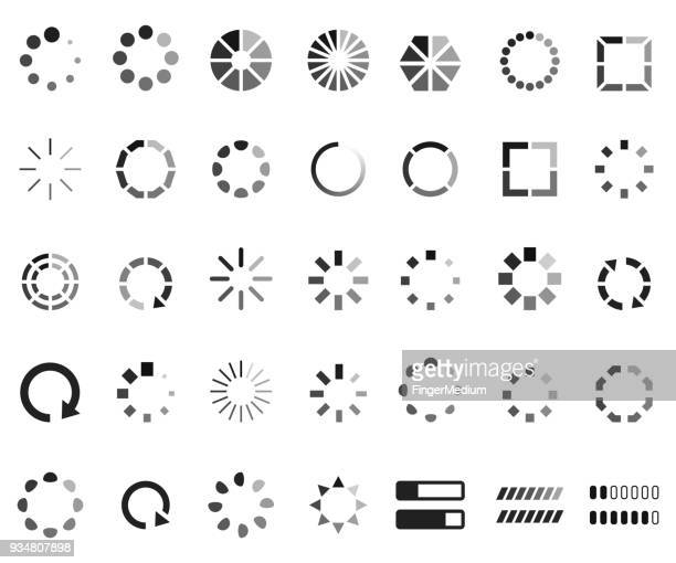loading icon set - stream stock illustrations