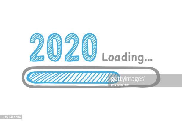 laden des neuen jahres 2020 auf weißem hintergrund - beladen stock-grafiken, -clipart, -cartoons und -symbole