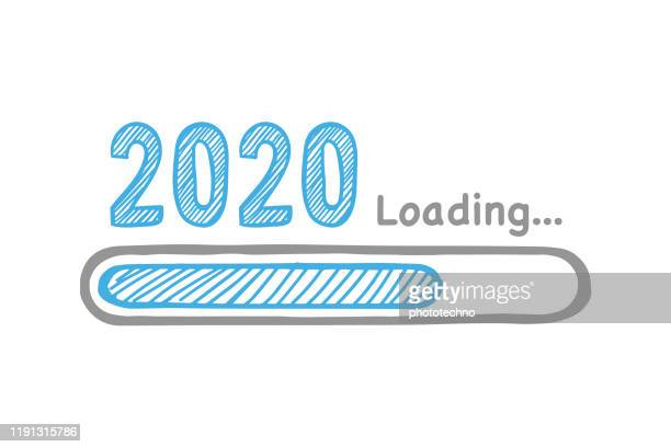 ilustrações de stock, clip art, desenhos animados e ícones de loading new year 2020 on white background - download