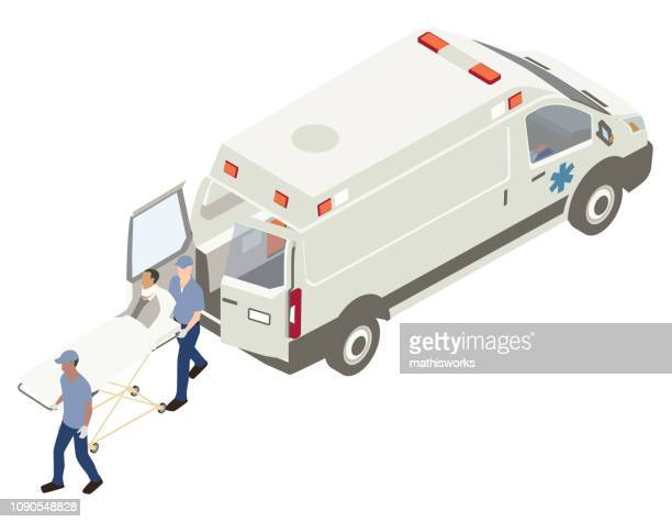 Loading patient into ambulance illustration