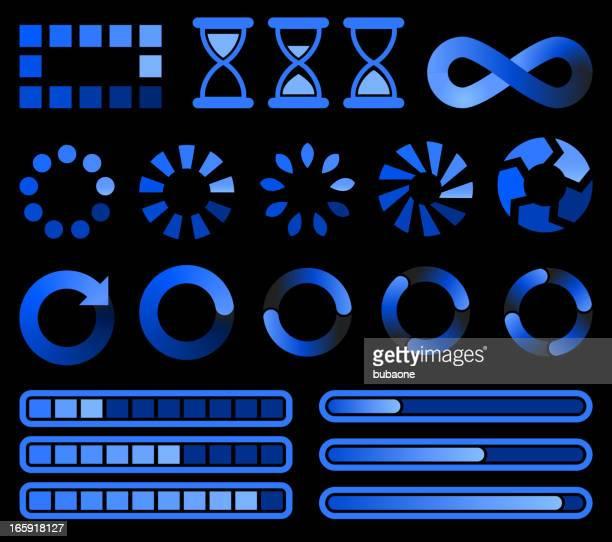 Loading preloader and downloading Blue Vector Icons on black Background