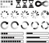 Loading preloader and downloading Vector Icons black & white set