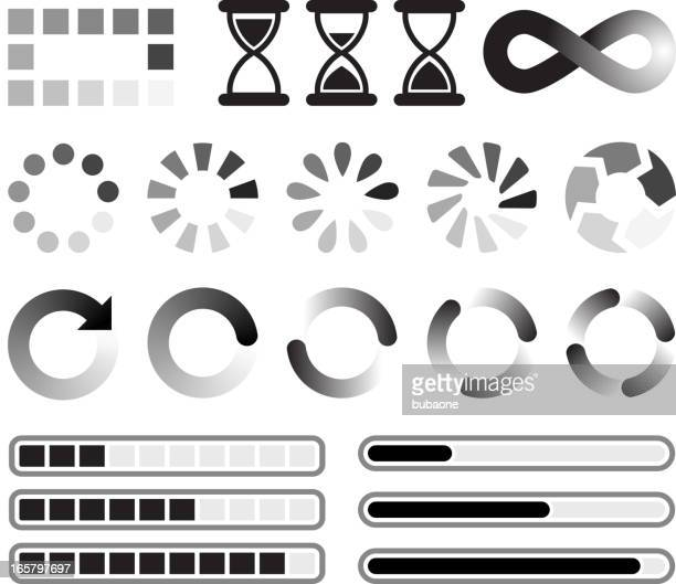 loading preloader and downloading vector icons black & white set - start button stock illustrations, clip art, cartoons, & icons