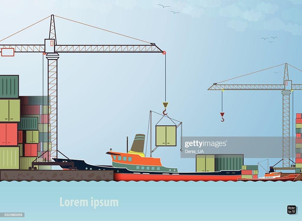 loading unloading cargo ship in the port