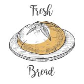Loaf of bread on a wooden round board. Vector illustration of a sketch style.