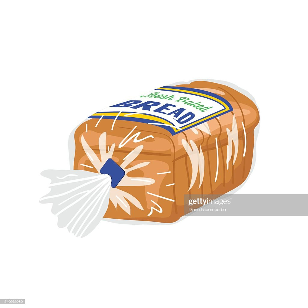 Loaf Of Sliced Bread In A Plastic Wrapper Stock