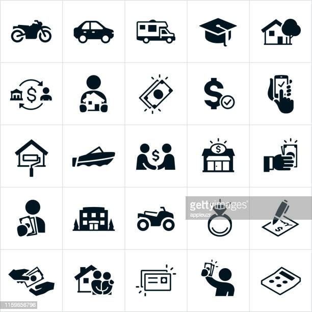 loan and borrowing icons - borrowing stock illustrations